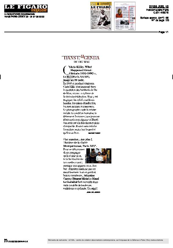 CHRISKILLIP, Le Figaro Magazine, Jean-Luc Jeener, 27 juillet 2012