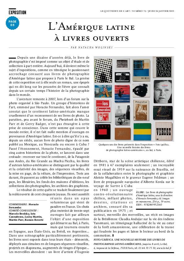 FOTOGRAFICA, Le Quotidien de l'Art, Natacha Wolinski, 26 janvier 2012