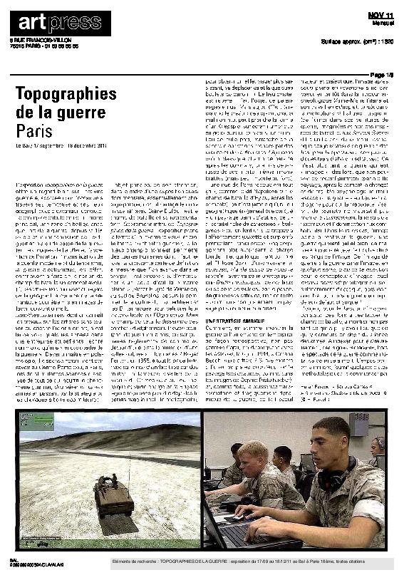 TOPOGRAPHIES, Artpress, Paul Ardenne, novembre 2011