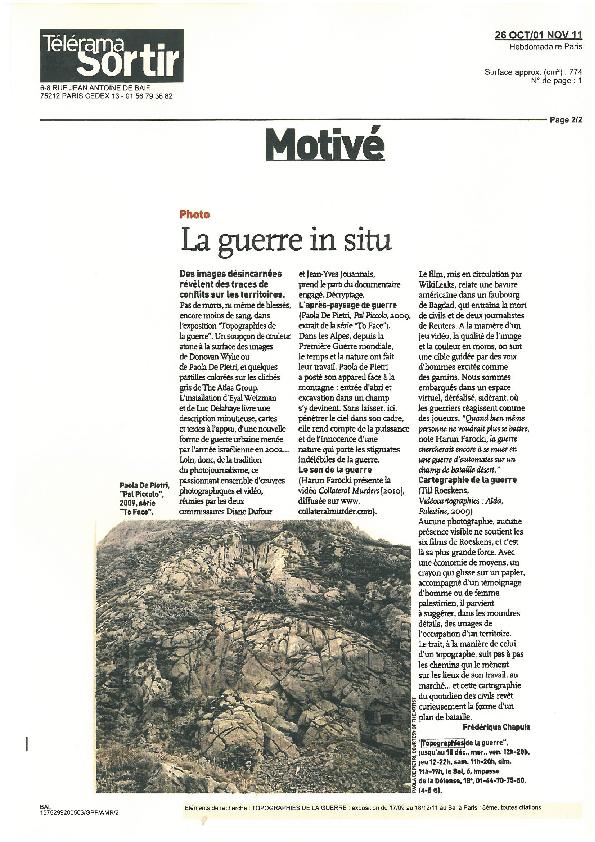 TOPOGRAPHIES, Télérama Sortir, Frédérique Chapuis, 26 octobre 2011