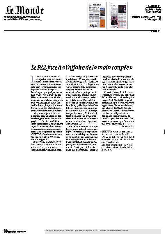 TOKYO-E, Le Monde, Claire Guillot, 14 juin 2011