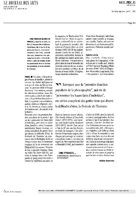5ETRANGESALBUMS, Le Journal des Arts, Gisèle Tavernier, février 2011