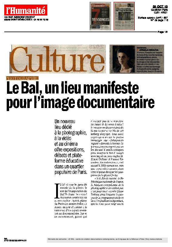 ANONYMES, L'Humanité, Magali Jauffret, 5 octobre 2010