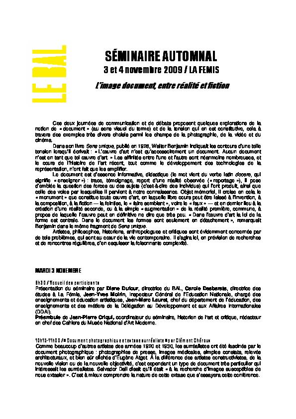 Le programme du séminaire