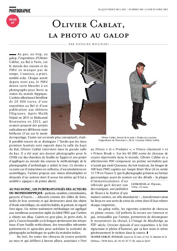 FOUILLES, Le Quotidien de l'art, Natacha Wolinski, 29 avril 2013