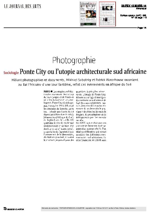 PONTECITY, Le Journal des ars, Patrick Waterhouse, dans « Entretien avec Mikhael Subotzsky et Patrick Waterhouse » par C. Coste