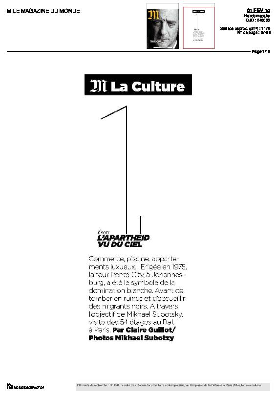 PONTECITY, M le Magazine du Monde, Claire Guillot, 1er février 2014