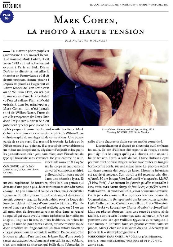 MARKCOHEN, Le Quotidien de l'art, Natacha Wolinski, 1er octobre 2013